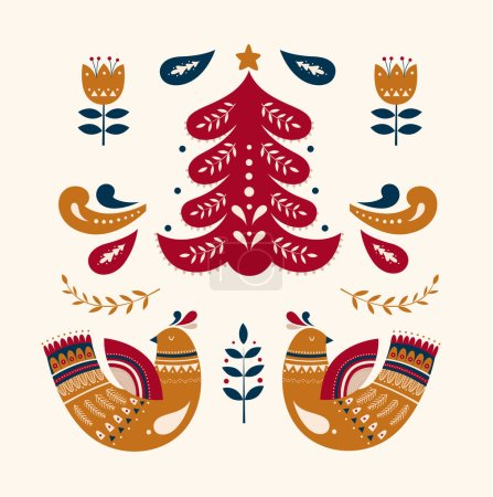 Illustration for Scandinavian vector Christmas collection with birds and Christmas tree - Royalty Free Image