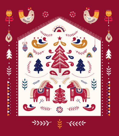 Illustration for Scandinavian vector Christmas collection with birds, horses and Christmas tree - Royalty Free Image