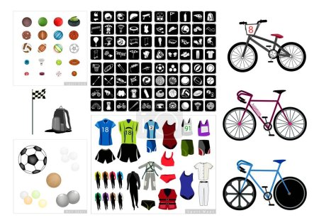 Illustration for Illustration Set of 20 Assorted Icon of Sport Equipments, Accessories and Sport Items. - Royalty Free Image