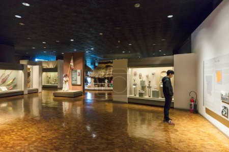 Photo for MEXICO CITY - DECEMBER 26, 2015: Interior of National Museum of Anthropology in Mexico City - the most visited museum in Mexico. - Royalty Free Image