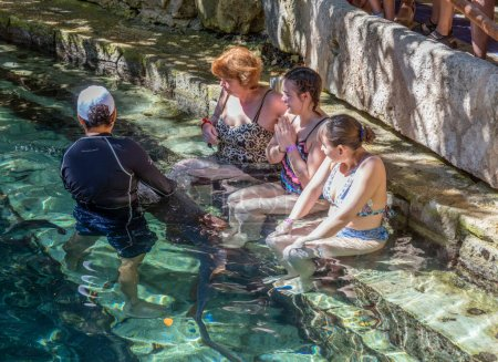 Photo for XCARET, MEXICO - January 6 2015 - Shark show in Xcaret, a Maya civilization archaeological site located on the Caribbean coastline of the Yucatan Peninsula. - Royalty Free Image
