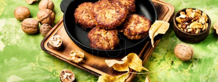 Photo for Homemade vegetable cutlets from walnut. Healthy food. - Royalty Free Image