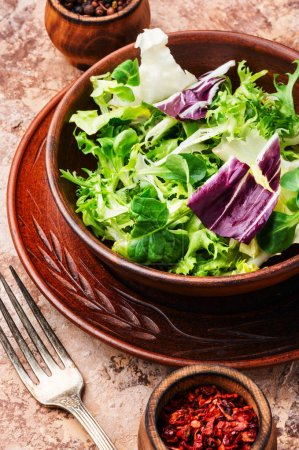 Photo for Fresh salad plate with mixed greens.Healthy food.Vegetarian food - Royalty Free Image