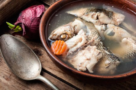 Photo for Fish soup with ingredients and spices for cooking - Royalty Free Image