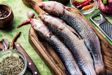 Photo for Fresh raw fish on wooden cutting board.Raw fish with spices for cooking.Fish background - Royalty Free Image