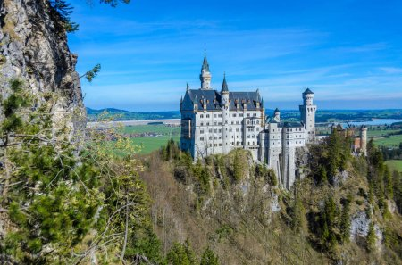 Neuschwanstein Castle, the nineteenth-century Romanesque Revival palace built for King Ludwig II on a rugged cliff near Fussen, Bavaria, Germany