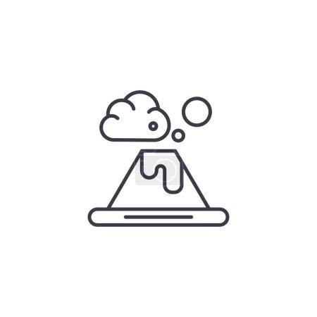 Fuji mountain linear icon concept. Fuji mountain line vector sign, symbol, illustration.