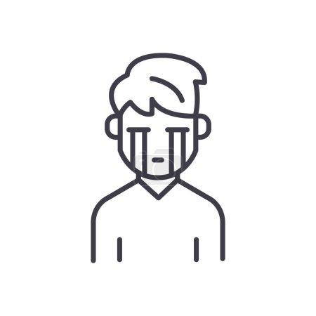 Melancholic personality black icon concept. Melanc...