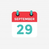 Flat icon calendar 29 September Date day and month Vector illustration