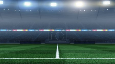 3D render professional soccer stadium background with crowd