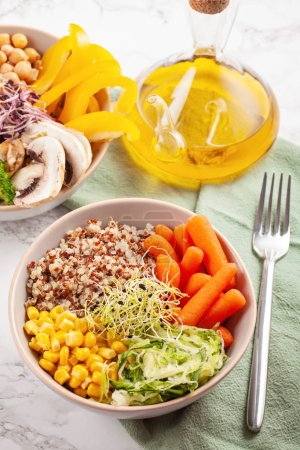Photo for Vegetable vegetarian buddha bowl. Healthy food concept. Top view - Royalty Free Image
