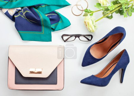 Fashion accessories and blue high heels shoes for girls and women. Urban fashion trends, beauty blog concept