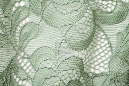 green lace textile texture with ornament