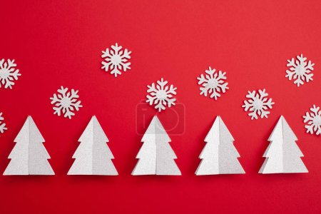 Photo for Festive christmas mockup over the red  background with copy space for text and xmas decoration - Royalty Free Image