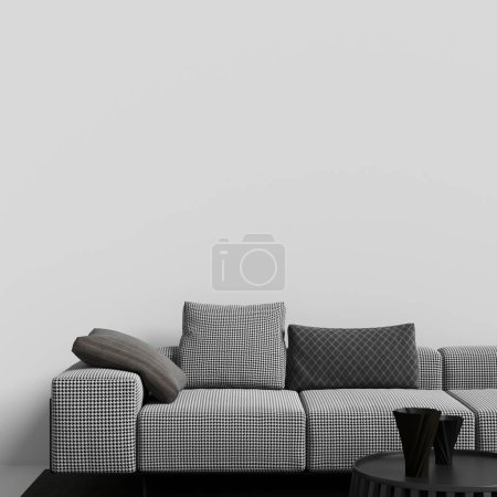 Photo for Interior Gallery Wall Mockup with Furniture and Decoration - Royalty Free Image