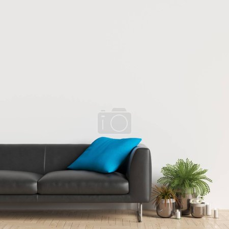 Photo for Interior Wall Gallery Mockup with Furniture and Decoration - Royalty Free Image