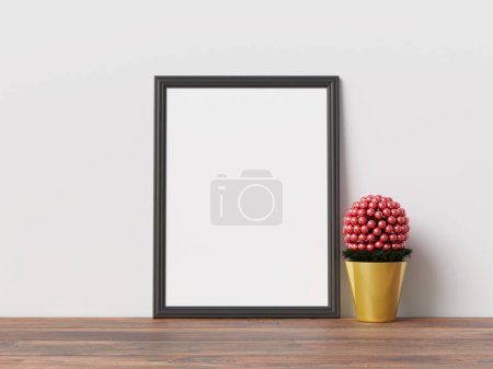 Photo for Mock Up Poster Frame Interior Scandinavian Christmas Winter Decoration - Royalty Free Image