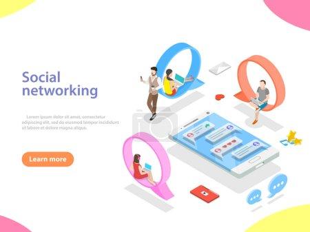 Illustration pour Concept de vecteur isométrique plat de réseau de médias sociaux, communication numérique, bavardage . - image libre de droit