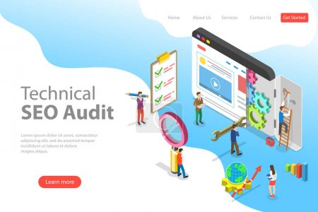 Illustration for Isometric flat vector landing page template of technical SEO audit, search engine strategy, content marketing, website development. - Royalty Free Image