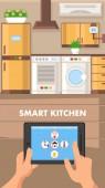 Smart Kitchen Flat Design Vector Illustration