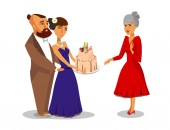 Grandmothers Birthday Party Flat Illustration