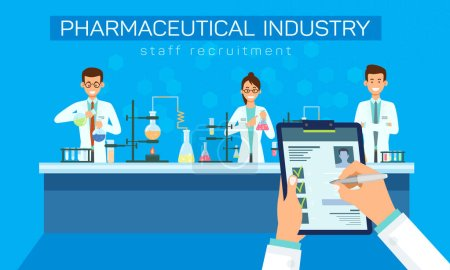 Pharmaceutical Industry Staff Recruitment Vector. ...