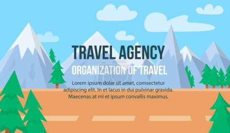 Illustration for Travel Agency. Organization of Travel Horizontal Banner with Copy Space. Colorful Nature Landscape with Mountains, Pine Trees under Blue Cloudy Sky. Beautiful Highland Area Flat Vector Illustration - Royalty Free Image