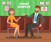 Lawyers Court Dispute Flat Vector Banner Template