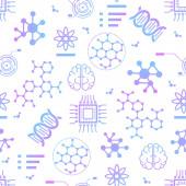 Seamless Pattern with Thin Line Nano Tech Icons