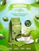 Green Arabica Coffee Banner Decaffeinated Beans