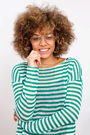 Photo for Portrait of young african american woman smiling with glasses - Royalty Free Image