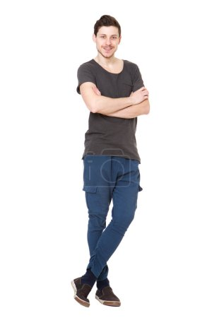 Photo for Full body portrait of cool young man against isolated white background - Royalty Free Image
