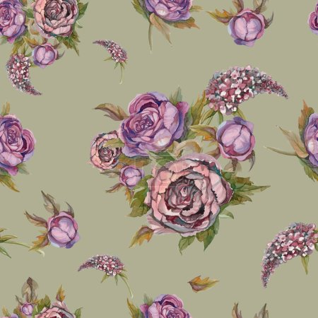 Floral seamless pattern. Watercolor flowers. Roses, peonies, lilacs. Vintage bouquets of flowers. Wedding bouquet. Pastel color. Green background Watercolor illustration