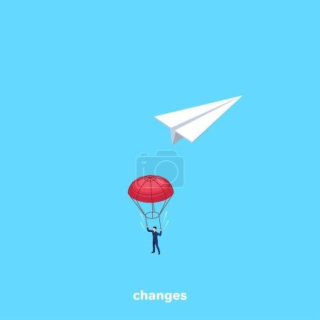 Illustration pour Un homme en combinaison de travail a sauté avec un parachute d'un avion en papier, une image isométrique - image libre de droit