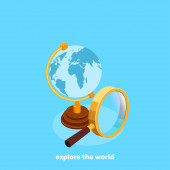 Globe and magnifying glass on a blue background isometric image