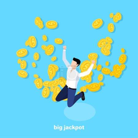 Illustration pour Homme sauté sur le fond des pièces d'or volantes, image isométrique - image libre de droit