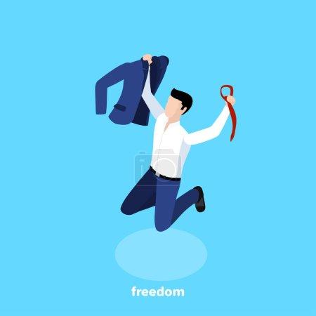 Illustration pour Un homme en costume d'affaires a sauté tenant une veste et une cravate dans ses mains, des émotions de bonheur et de joie, une image isométrique - image libre de droit