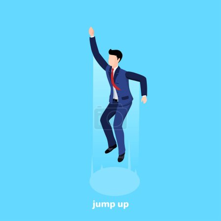 Illustration pour Un homme en costume d'affaires a sauté haut sur un fond bleu, une image isométrique - image libre de droit