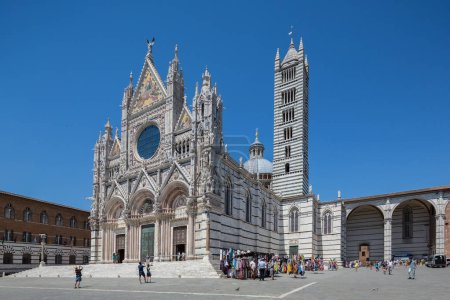 Siena Italy July 1st 2015 : Front side view of the magnificent cathedral in Siena, Tuscany