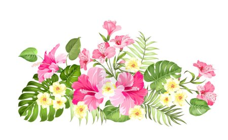 Tropical flower garland for your card design. Labe...
