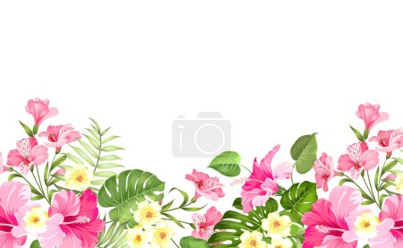 Summer vacation card. Tropical flowers of plumeria...