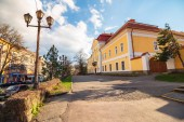 Uzhgorod, Ukraine - APR 15, 2015: Transcarpathian regional museum of arts named after Yosyp Bokshay. wonderful evening cityscape in springtime
