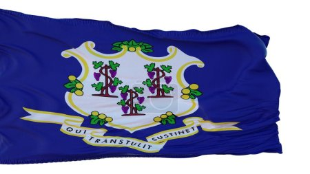 Connecticut Flag isolated on white background. 3d ...