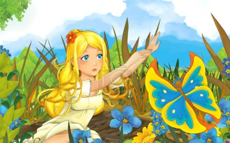 Foto de Escena de dibujos animados con joven hermosa chica en el prado y la mariposa - ilustración para los niños - Imagen libre de derechos