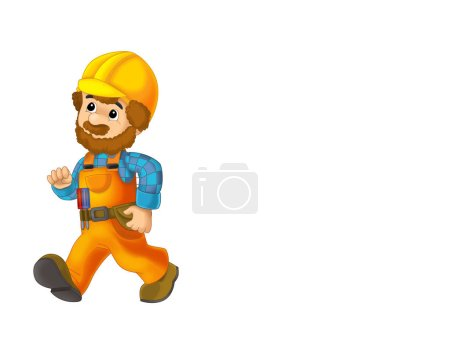 Photo for Cartoon scene with repairman on white background - illustration for children - Royalty Free Image
