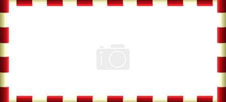 cartoon scene with frame - red and white poles - illustration for children