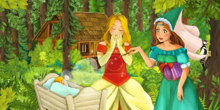 cartoon scene with medieval woman and princess in the forest and a child in bed - illustration for children