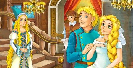 Foto de Escena de dibujos animados con matrimonio-Príncipe y princesa en la habitación del castillo-ilustración para los niños - Imagen libre de derechos
