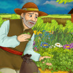 Cartoon scene with man in the garden gathering som...