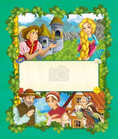 Foto de Escena de cuento de hadas de dibujos animados con Castillo torre - princesa en la torre del castillo del bosque - manga bonito niña - en el fondo - portada - ilustración para los niños - Imagen libre de derechos